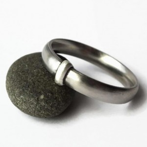 Sterling & Steel Band - Matte or Textured Finish - For him or her - Sporran Key - Wedding ring - Blade and Bow - Anniversary - Blacksmith