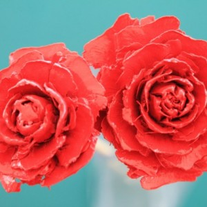 Red Hand-Painted Cedar Rose Pine Cone Flower