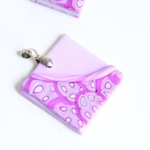 Polymer clay pendant and earring