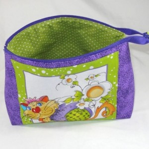 """Loralie Designs Purple """"Happy Cat""""  Cosmetic Bag, Bridesmaid Gift, Holiday Gift, Toiletry Bag, Pencil Case, Travel Bag"""