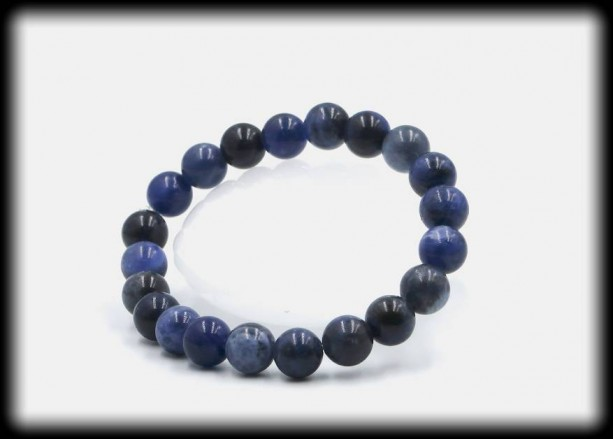 Sodalite Solid Gemstone Bracelet for Logic and Communication
