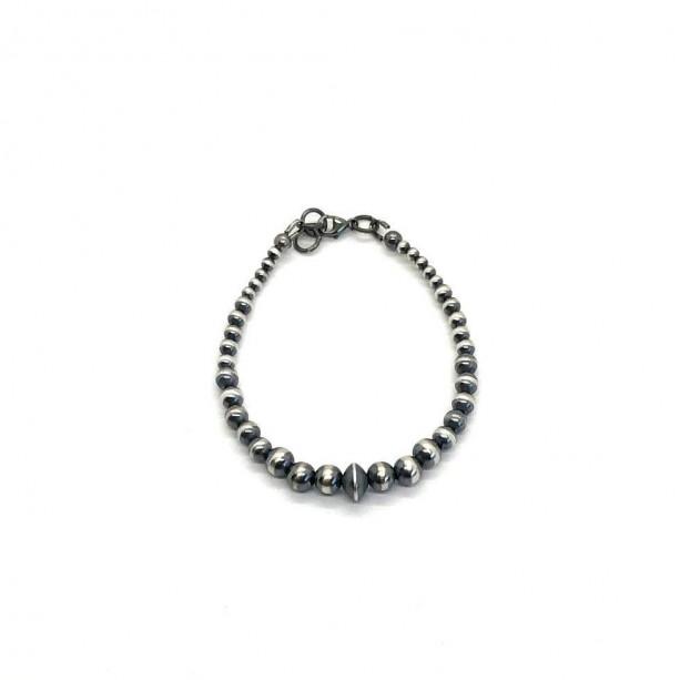 Oxidized Sterling Silver Beaded Bracelet