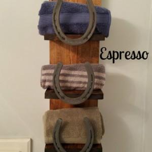 Rustic Horseshoe Three Shelf Towel Rack, Bathroom decor