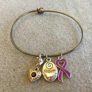 Follow Your Heart Charm Bracelet with Purple Ribbon