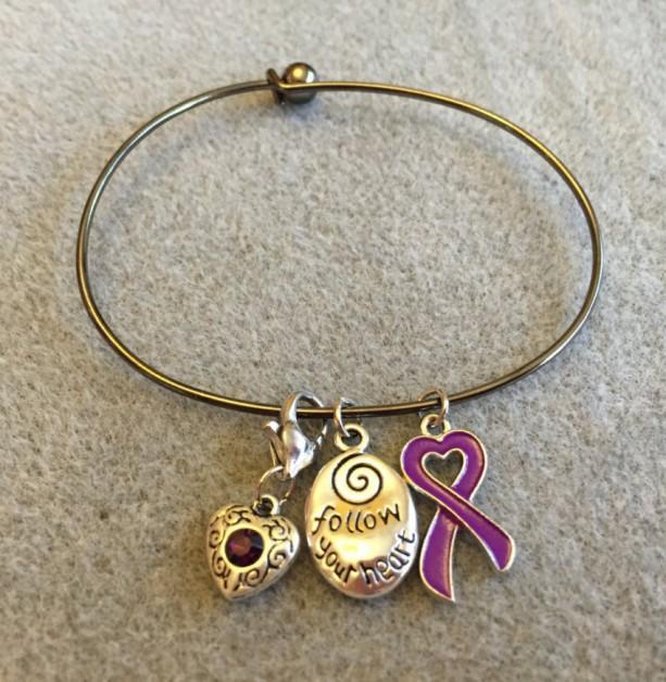 Follow Your Heart Charm Bracelet with Purple Ribbon