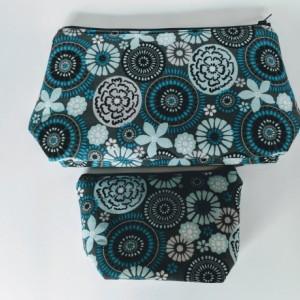 Small Matching Travel Cases, Makeup Bag, Women's Travel Bag, Zipper Bag, Gift under 20