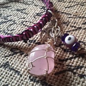 Rose Quartz Pink Micro Macrame Hemp Bracelet