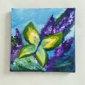 Oil Painting on Canvas- Original Artwork- Nature Art- Butterfly and Flower Painting- 6x6-Botanical-Sarah Floyd