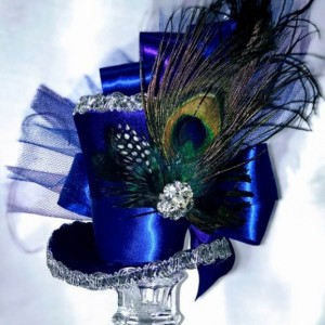 Peacock Feathered Mini Top Hat Fascinator Headband