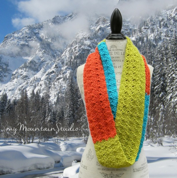 Colorblock - Women's Handmade Infinity Scarf Cowl in Lime Turquoise and Coral