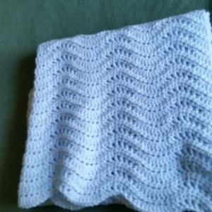 Crochet Light Blue Baby Blanket.