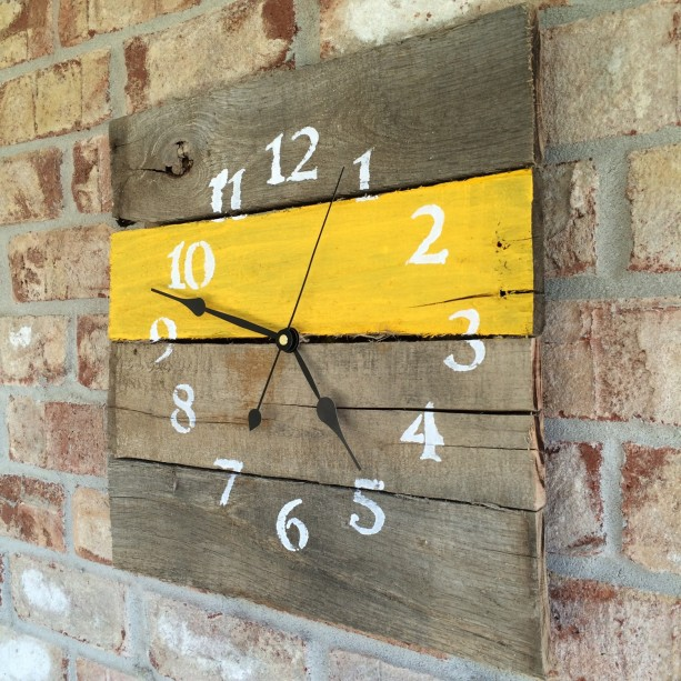 Reclaimed Aged Pallet Wood Wall Clock , Hand Painted Upcycled Sunshine Yellow