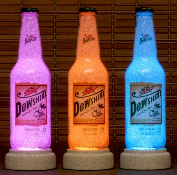 Mountain Dew Dewshine 12 oz Remote Control Color Changing Bottle Lamp Night Light Accent Lamp Bar Light