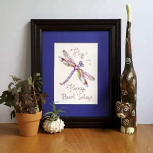 Dragonfly Artwork, Fine Art Print, Dragonfly Inspirational Art, Encouraging Quote, Inspirational Quotes, Mosaic Dragonfly, Affordable Art