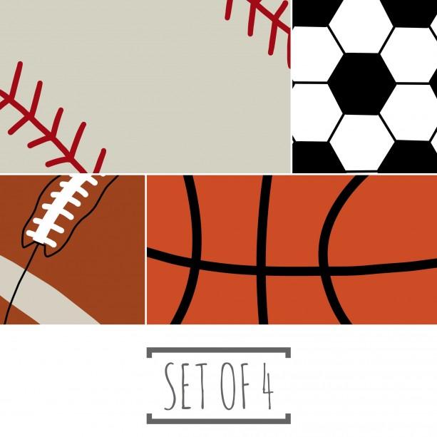 Football, Soccer, Baseball, & Basketball Set of Prints - 8x10