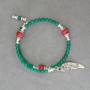 Unity in Trinity™ Gratitude Bracelet of Green and Red Quartz Beads
