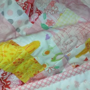 Modern  pink baby or lap quilt
