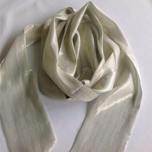 Cream Silk Long Scarf