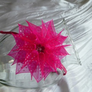 Organza pink flower handmade hairband/headband in Kanzashi technique