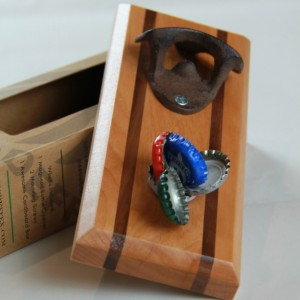Bottle Opener Magnetic Cap Catcher - Handcrafted Alder Wood with Maple Inlay with Antique Bronze Opener