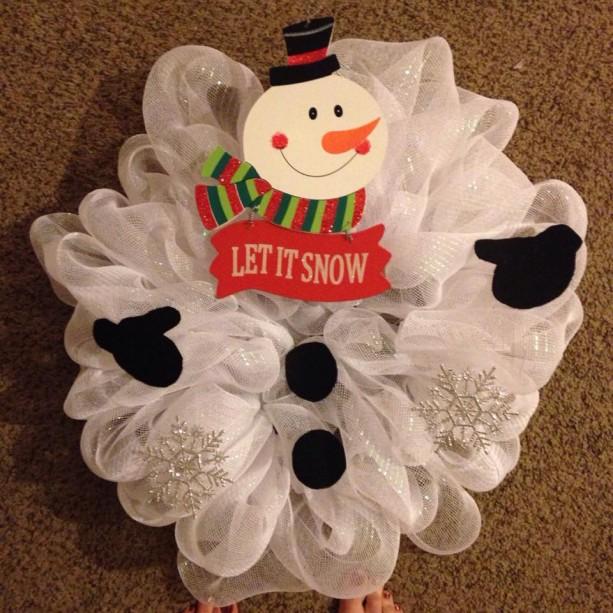 Let It Snow Snowman Deco Mesh Wreath