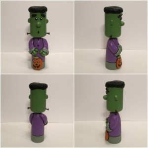 Halloween Frankenstein wood and clay sculpture