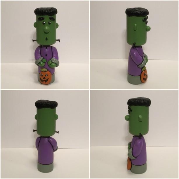Halloween Frankenstein wood and clay sculpture