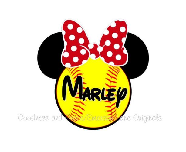 Softball Minnie Iron On for Shirts - Disney Softball Shirt - Family Vacation Disney - Softball Disney Tee - Disney Softball Tournament Shirt
