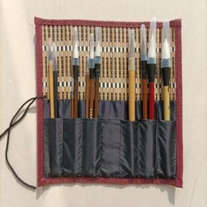 Chinese Calligraphy Brush Set - Including 11 Brush Pen and Brush Holder | Bamboo Curtain Brush Pen Holder