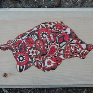 Wood Burned Razorback- Paisley pattern