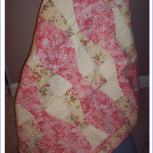 Coral Rose Baby Girl Quilt with Fleece Back Quilted with Rose Swirls