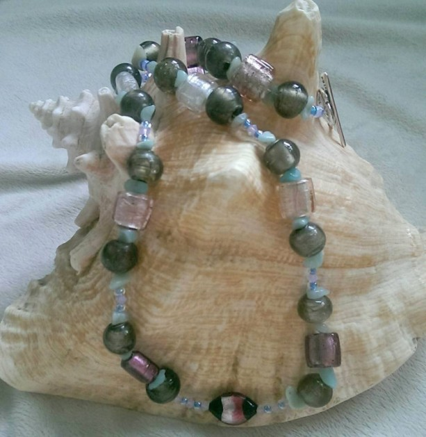 Pink Lampwork Beaded Necklace