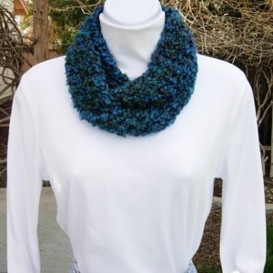 Small Skinny Petite INFINITY SCARF Short Loop Cowl Dark Teal Blue, Green, Red Thick Soft Winter Summer Crochet Knit, Office Mini Scarf, Ships in 2 Days
