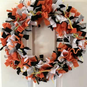 Felt & Ribbon Orange and Black Snakes and Spiders Halloween Wreath - Fall Wreath