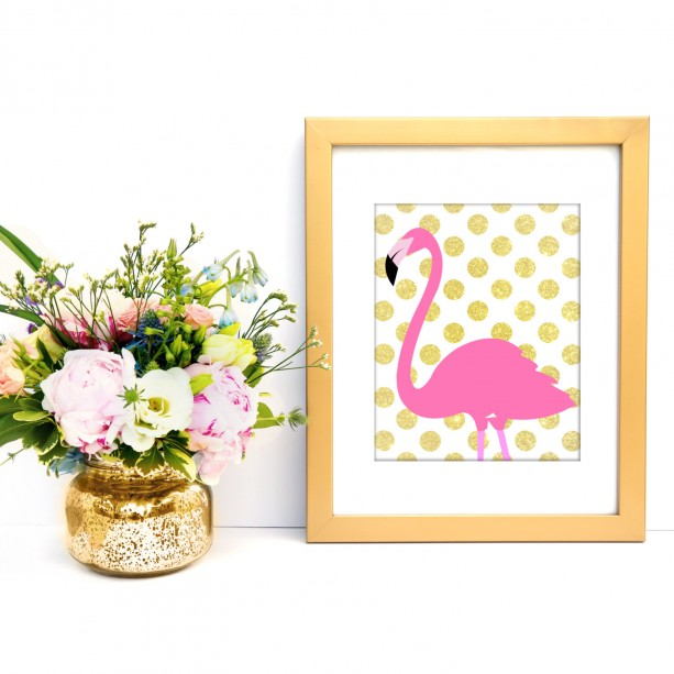Pink and Gold Flamingo 8x10 Art Print | aftcra