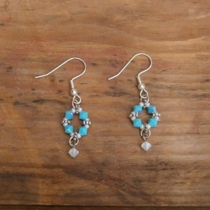Turquoise crystal dangle earrings