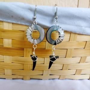 Shark tooth earrings with polished abalone shells, seashell earrings, shark tooth jewelry, fossils, fossil earrings, shark tooth earrings