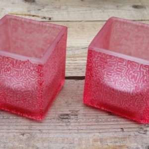 Cube-Shaped Glass Candle Holders with White Tealights