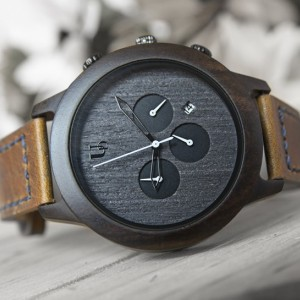 Mens Minimalist Dark Face Multi-Function Chronograph Round Wooden Watch with Premium Leather Band, Gift for Him