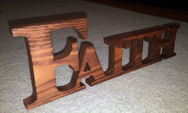 Faith, Inspirational words, Cut wooden name.