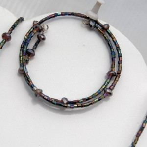 Black  Beaded Necklace and Bracelet Set - Quiet Elegance