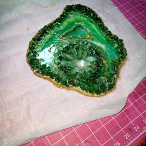 "Eco-Epoxy Resin Geode ""The Emerald City"""