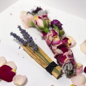 Working with my Shadow Self Sage Wand, Smudge Wand, Meditation, Positive Vibes, Cleansing, Healing, Roses, Purple Flowers