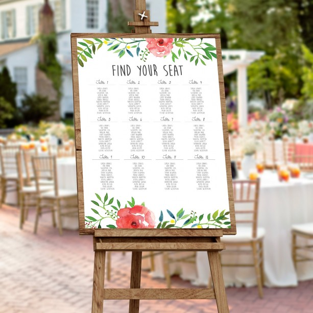 Wedding Seating Chart, Seating Chart, Outdoor Wedding, Rustic Wed ...