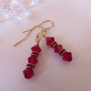 Ruby Red Earrings in Gold