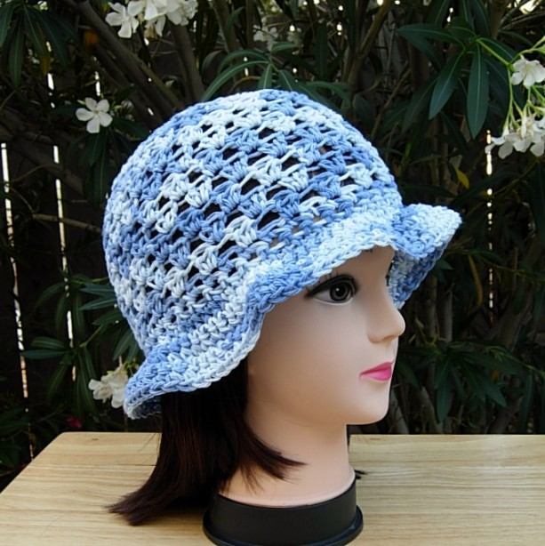 Light & Medium Denim Blue Summer Beach Sun Hat, 100% Cotton Women's Crochet Knit Beanie Bucket Cap with Floppy Brim, Ready to Ship in 3 Days