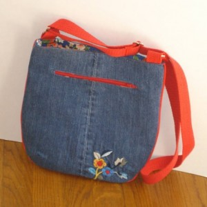 Over the Shoulder and Crossbody Hobo Tote bag from upcycled jeans with machine embroidery and adjustable straps