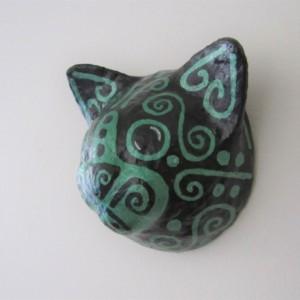 paper mache black cat lucky black Irish cat St. Patrick's Day cat faux taxidermy