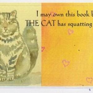 Cat Art Bookplates-Set of 5 self stick bookplates- FLUFFY GRAY PERSIAN--