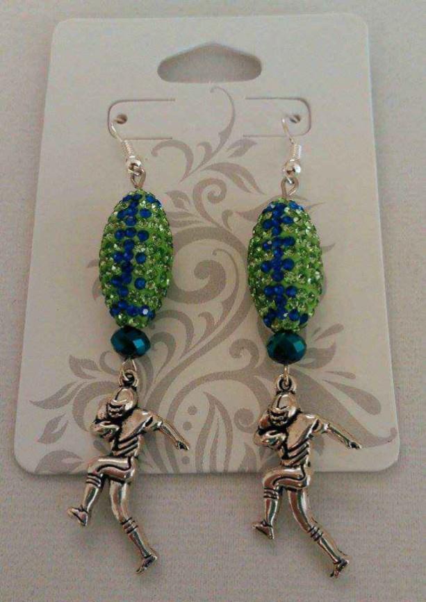 Seahawks Crystal Football Dangle Earrings